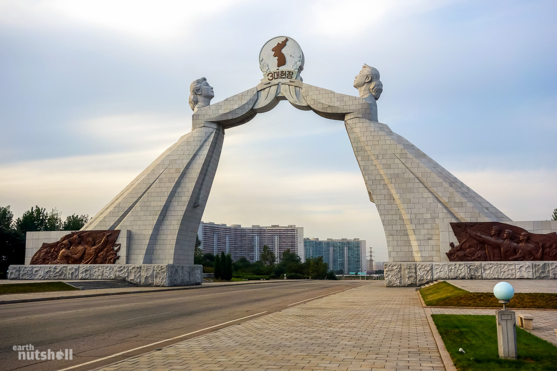 Arch of Reunification, the gateway to the city. I am facing north looking into Pyongyang.