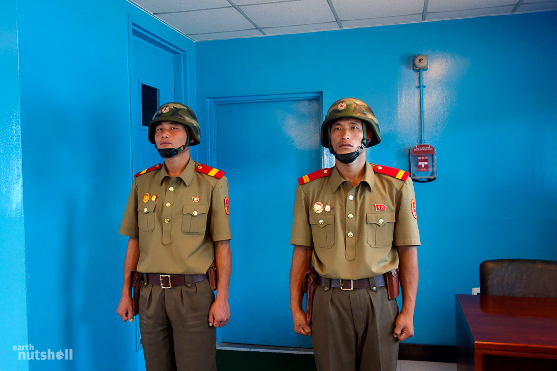 So close yet so far. A single door away from freedom. Even the exemplary KPA officers are quite thin in North Korea.