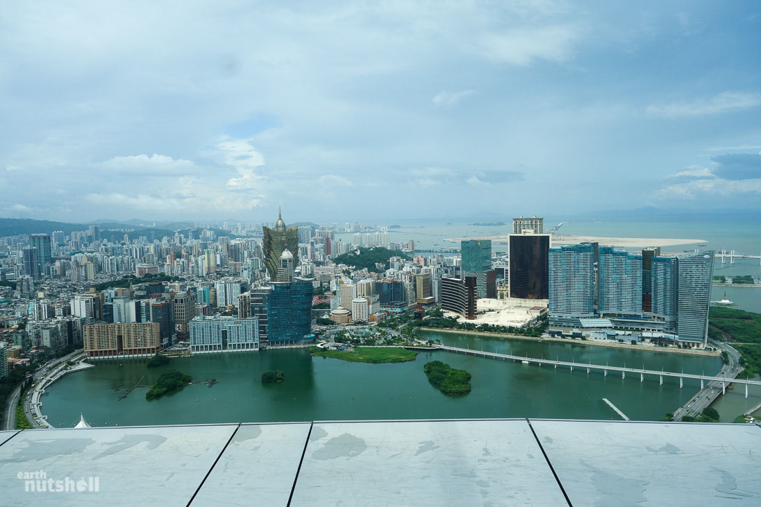 View of the Macau peninsula from the Macau Tower, it also doubles as the tallest bungee in the world!