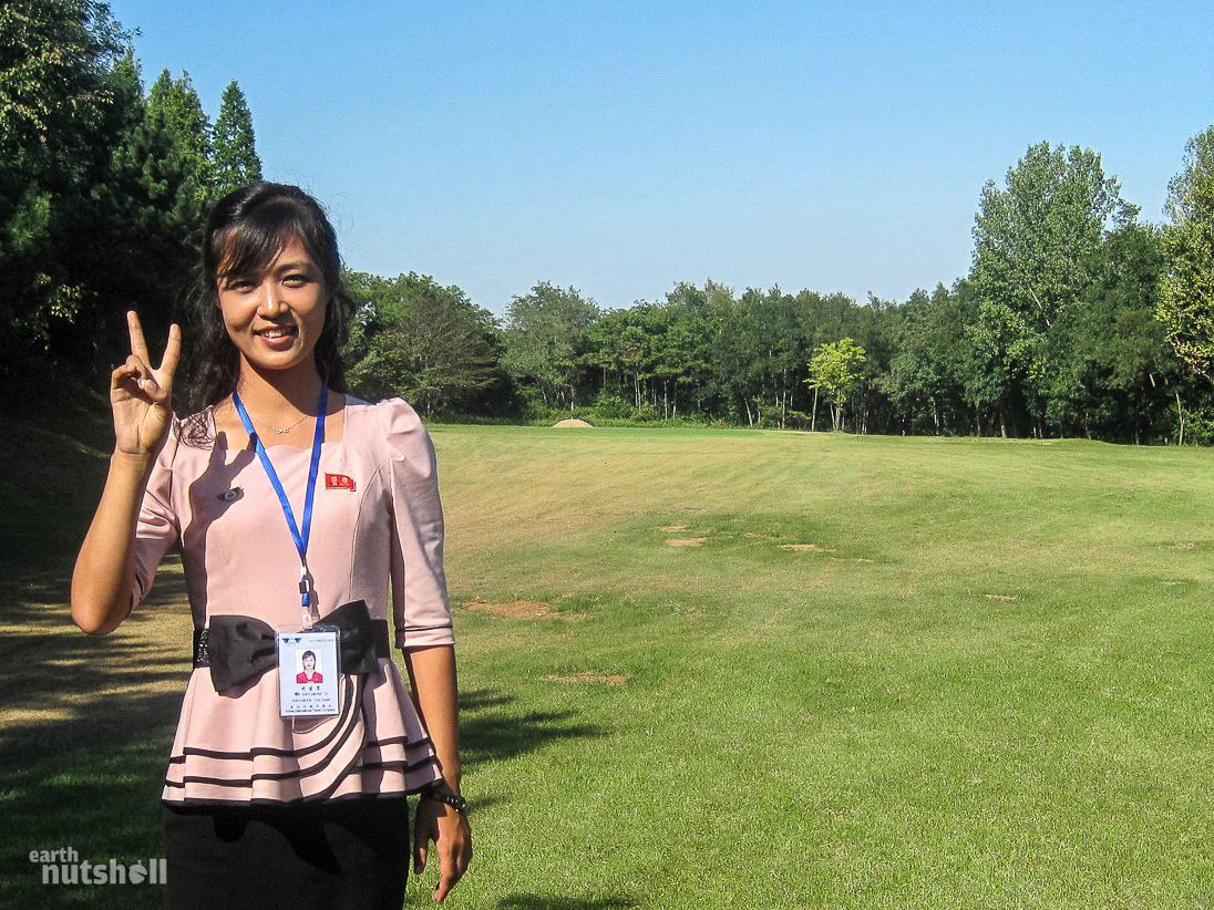 Pyongyang Golf Course. One of my guides came prepared for a day walking 18 holes on grass wearing high heels. This was regretted quickly. Golf was a new discovery for all of my guides, we got lost trying to find the course it's so rarely visited.