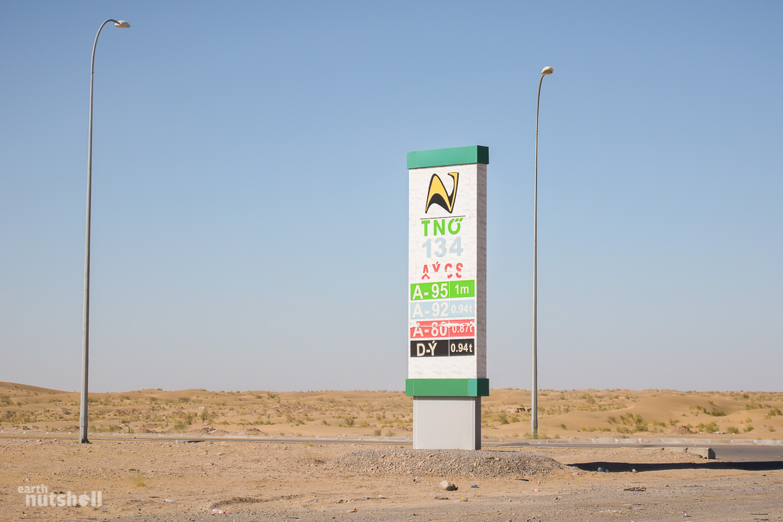 Exceptional By Now We Were Over 200 Kilometres Into The Desert, And 1 Litre (0.26 US  Gallons) Of Unleaded 95 Was Still Just A Flat 1 Manat ($0.28 USD). This  Price Puts ...